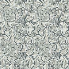 Cream Blue Print Pattern Decorator Fabric by S. Harris