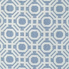 French Blue Geometric Decorator Fabric by Highland Court