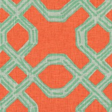 Aqua/Orange Lattice Decorator Fabric by Lee Jofa
