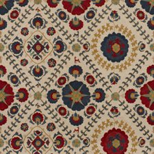 Indigo/Red Ethnic Decorator Fabric by Lee Jofa