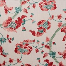 Coral/Jade Jacobeans Decorator Fabric by Lee Jofa