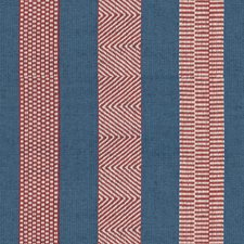 Denim/Ruby Stripes Decorator Fabric by Lee Jofa