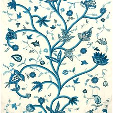 Ivory/Blues Jacobeans Decorator Fabric by Lee Jofa