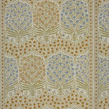 Sapphire/Gold Botanical Decorator Fabric by Lee Jofa