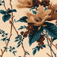 Blu/Brow/Ecru Botanical Decorator Fabric by Lee Jofa