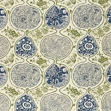 Indigo/Green Decorator Fabric by Schumacher