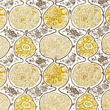 Gold and Mushroom Decorator Fabric by Schumacher