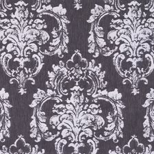White On Charcoal Damask Decorator Fabric by Scalamandre
