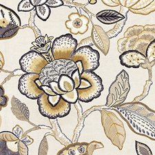 Flax Embroidery Decorator Fabric by Scalamandre