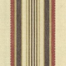 Beige/Burgundy/Red Stripes Decorator Fabric by Kravet