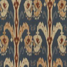 Blue/Burgundy/Red Ethnic Decorator Fabric by Kravet