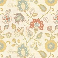 Beige/Blue/Green Jacobeans Decorator Fabric by Kravet
