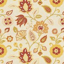 Beige/Burgundy/Red Jacobeans Decorator Fabric by Kravet