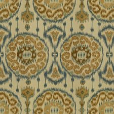 Beige/Blue/Brown Ethnic Decorator Fabric by Kravet