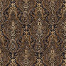 Blue/Brown/White Damask Decorator Fabric by Kravet
