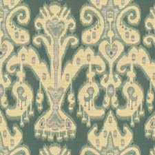 Beige/Blue/Light Blue Ethnic Decorator Fabric by Kravet