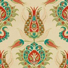 Green/Orange Damask Decorator Fabric by Kravet