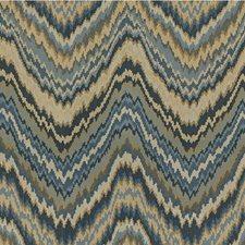 Beige/Light Blue/Dark Blue Flamestitch Decorator Fabric by Kravet