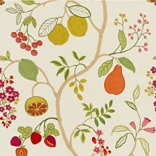 Ivory/Green/Red Botanical Decorator Fabric by Kravet