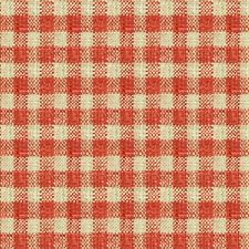 Coral/Beige Check Decorator Fabric by Kravet