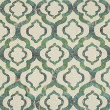 Beige/Green/Teal Geometric Decorator Fabric by Kravet
