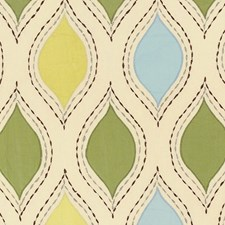 Chartreuse/Sky Decorator Fabric by Schumacher