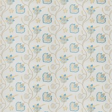 Aqua Embroidery Decorator Fabric by Fabricut