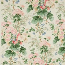 White/Coral Print Decorator Fabric by Lee Jofa