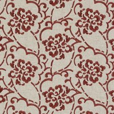 Natural/Red Embroidery Decorator Fabric by Duralee