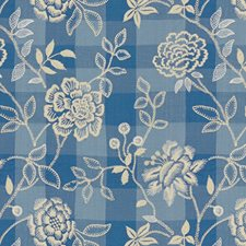 French Blue Embroidery Decorator Fabric by Brunschwig & Fils