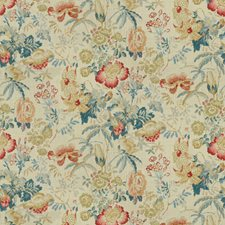 Red/Blue Botanical Decorator Fabric by Brunschwig & Fils