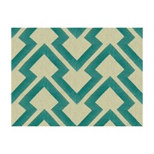 Turquoise Geometric Decorator Fabric by Brunschwig & Fils