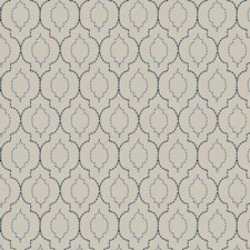 Blue Ivory Embroidery Decorator Fabric by Trend