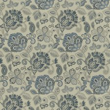 Blue Floral Decorator Fabric by Trend