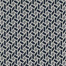 Navy Geometric Decorator Fabric by Trend