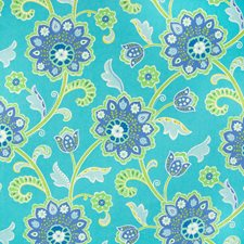 Turquoise Floral Decorator Fabric by Greenhouse