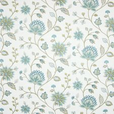 Aquamarine Floral Decorator Fabric by Greenhouse