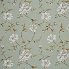 Aqua/Linen Embroidery Decorator Fabric by G P & J Baker