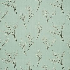 Aqua Embroidery Decorator Fabric by G P & J Baker