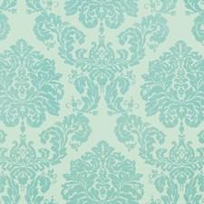 Aqua Damask Decorator Fabric by G P & J Baker