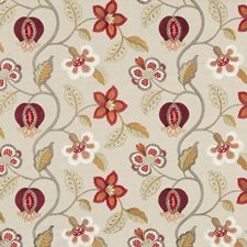Red/Ivory Embroidery Decorator Fabric by G P & J Baker