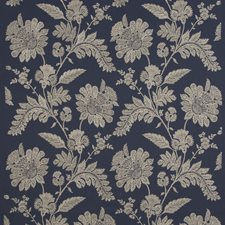 Indigo Embroidery Decorator Fabric by G P & J Baker