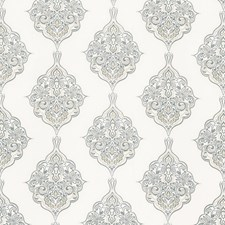 Soft Blue Embroidery Decorator Fabric by G P & J Baker