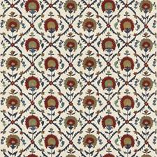 Red/Blue Embroidery Decorator Fabric by G P & J Baker