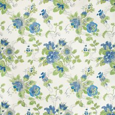 Cornflower/Lime Botanical Decorator Fabric by Lee Jofa