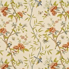 Burnt Orange/Lime Decorator Fabric by G P & J Baker