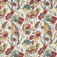 Linen/Teal/Pimento Print Decorator Fabric by G P & J Baker