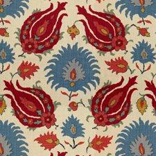 Pomegranate/Blue Ethnic Decorator Fabric by Brunschwig & Fils