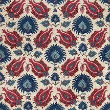 Navy/Berry Ethnic Decorator Fabric by Brunschwig & Fils