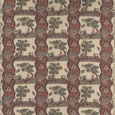 Red Figurative Decorator Fabric by Brunschwig & Fils